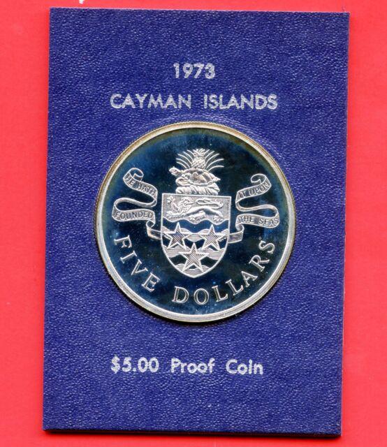 1975 Cayman Islands Proof 5 Dollar Silver Coin (35.5 Grams .925 Silver)