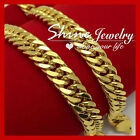 9K YELLOW GOLD FILLED DIAMOND CUT DOUBLE CURB CHAIN MEN XMAS GIFT SOLID NECKLACE