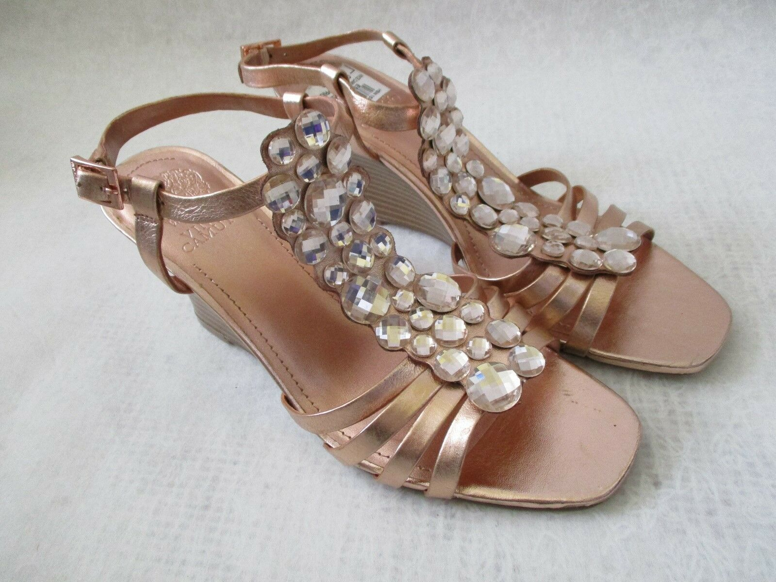 VINCE CAMUTO LEATHER pink gold JEWELED WEDGE SHOES SIZE 6 1 2 M - NEW