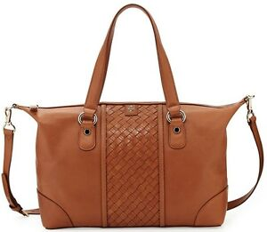 Cole Haan Archer Heritage Weave Leather Bag Woodbury Brown
