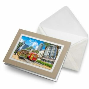 Greetings-Card-Biege-Trams-Trolleybus-New-Orleans-USA-15693