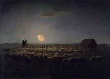 The sheepfold, Moonlight Jean-François Millet gregge di pecore Luna Schäfer B a3 02516
