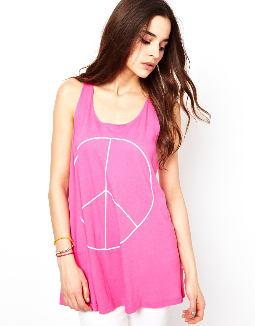 Wildfox Couture Asos Pace Pace Pace Hippie Festival rosa canotta tank tee Top M 12 8 40  51f4d7