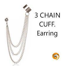 Fashion Celebrity Silver 3 Chain Tassel Dangle Ear Cuff Earring Jewellery i1