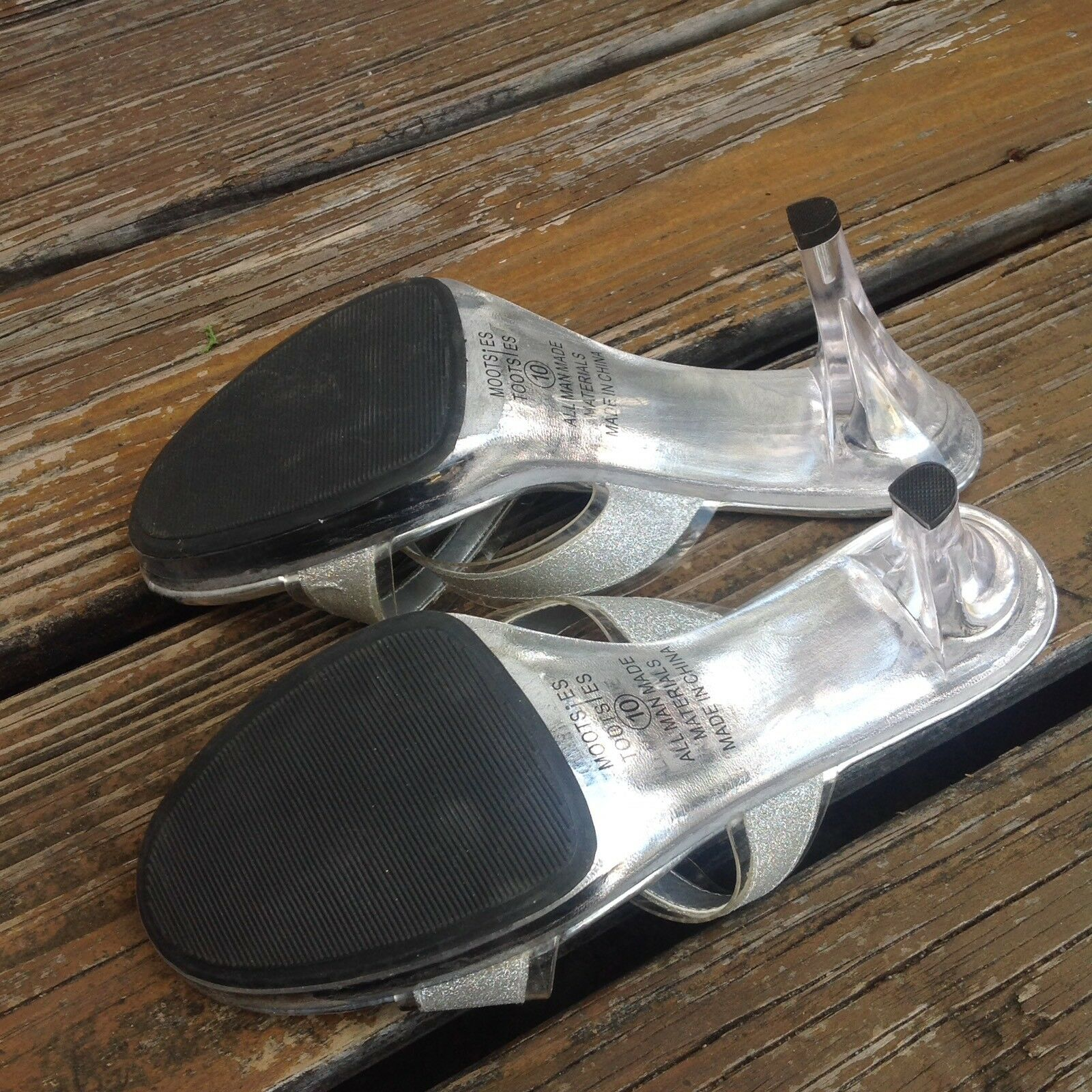 Mootsies Tootsies Pageant Lucite Clear Silver Mules Pageant Tootsies Heels Sz 10 Slip On Shoes b632a3