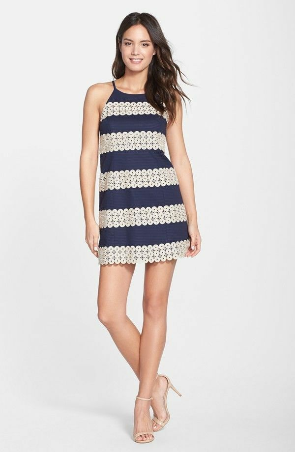 1083c69e675df ... 288 288 288 New Lilly Pulitzer Annabelle SHIFT DRESS True navy gold  Lace Stripe 2 6 ...