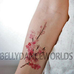 Realistic Watercolor Cherry Blossom Temporary Tattoo Forearm