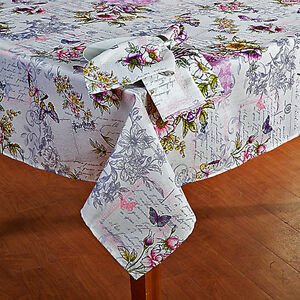 Vintage Cottage Butterfly Floral French Script Fabric