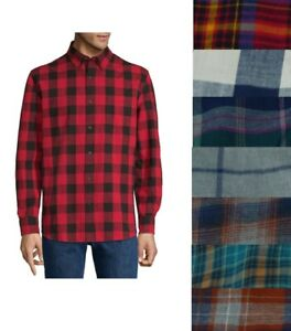 NEW-St-John-039-s-Bay-Men-039-s-Cotton-Shirt-Plaid-Long-Sleeve-size-S-M-L-XL