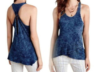 Racerback Summer 6 Medium Top Anthropologie Distressed Wrap Blauw Cool Tank Nwt 8 0Bwfaxq7d