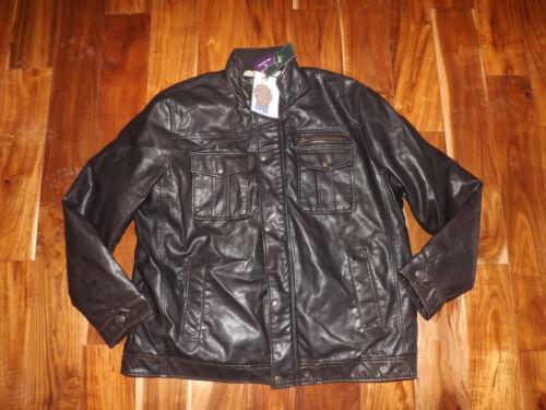 NWT Mens BASS /& Co Dark Brown Leather Like Full Zip Lined Jacket Coat XXL 2XL