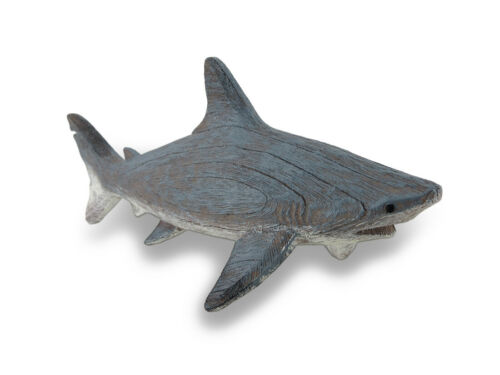 Zeckos Gray Weathered Finish Wood Look Shark Statue