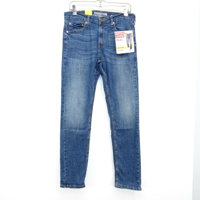 New Signature Levi Mens S26 Modern Fit Skinny Stretch Blue Denim Jeans 32 x 32