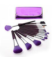 16 Pcs Professional Cosmetic Makeup Brush Brushes Set Kit With Purple Case