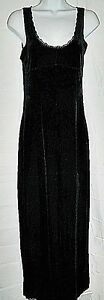 Juno-Collection-USA-Dress-Long-Maxi-Stretch-Black-Velvet-Gown-Prom-size-S-M