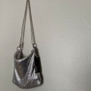 Badgley Mischka Sparkly Silver Sequin Chain Dainty Purse Handbag Shoulder Bag