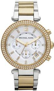 Mujer-Michael-Kors-Parker-Dos-Tonos-Cristales-Cronografo-Reloj-Con-Fecha-MK5626
