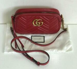 AUTHENTIC GUCCI GG Marmont Small Matelassé Leather Shoulder Crossbody Sling Bag