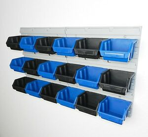 regal stapelboxen plastikbox kisten stabelkisten wandregal schraubenbox set 6 ebay. Black Bedroom Furniture Sets. Home Design Ideas