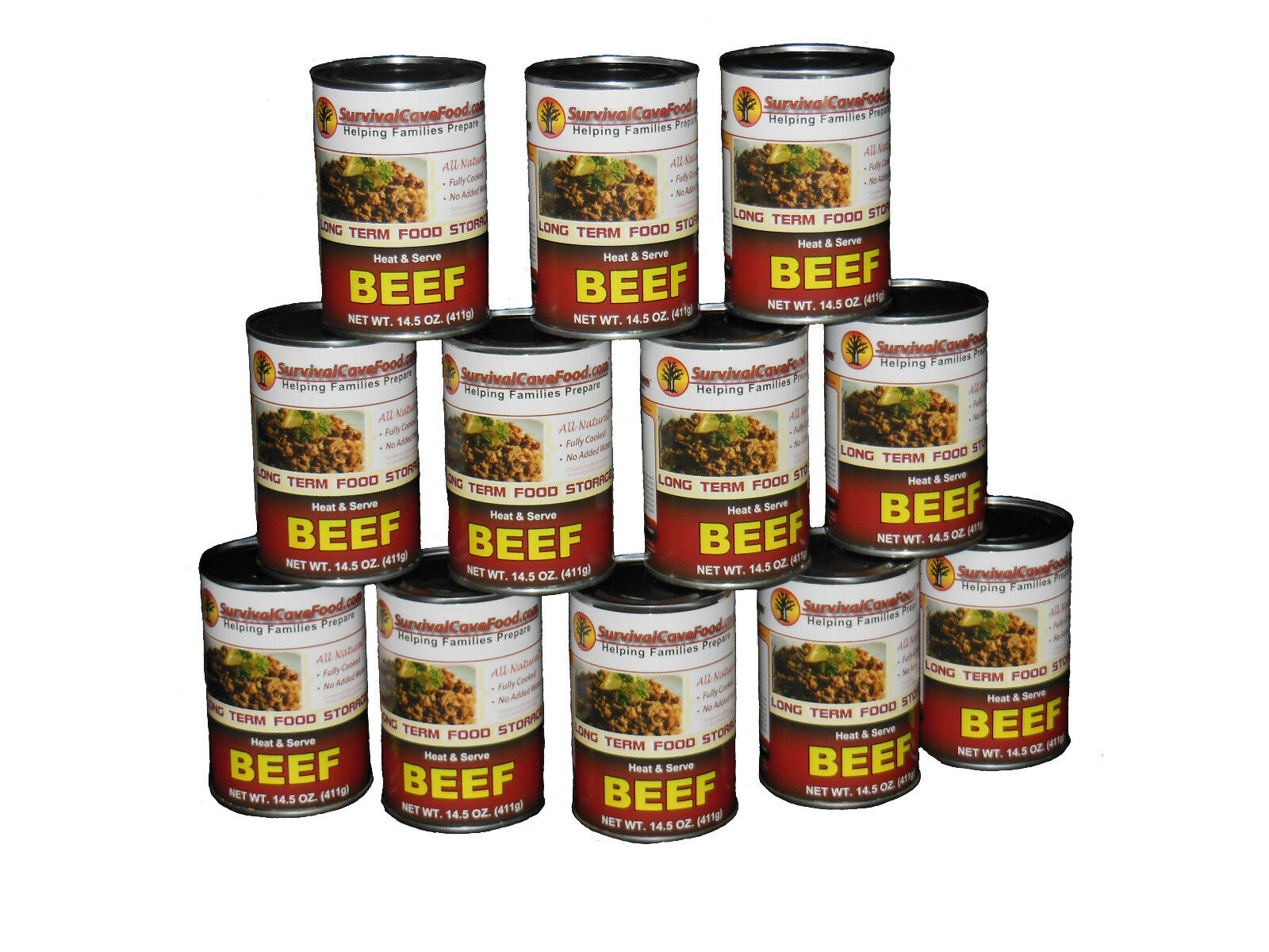 Survival Cave Food Canned Beef - Food Storage 12  Cans - 14.5 oz each  there are more brands of high-quality goods