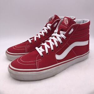 Details about VANS Off The Wall Red Canvas SK8 High Top Skater Shoes Men's Sz 9Womens Sz 10.5