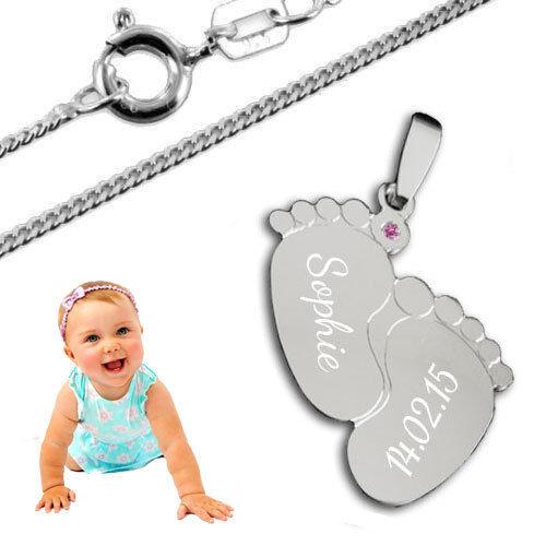 Anhänger Babyfüße mit Zirkonia Stein Inkl Kette /& Gravur Silber925