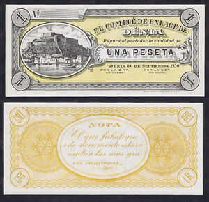SPAINISH-CIVIL-WAR-ONE-1-PESETA-DENIA-1936-UNC-REMAINDER-with-MARINA-amp-FORTRESS