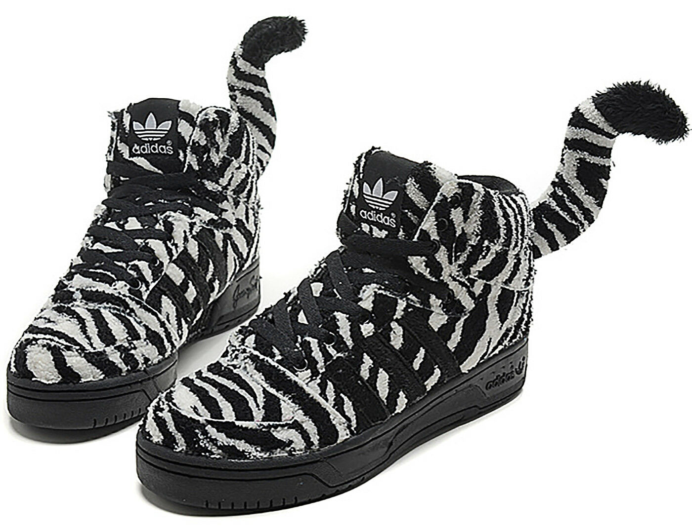 Jeremy Scott X Adidas Originals Zebra Tail High Top Sneakers Men's Size 9.5