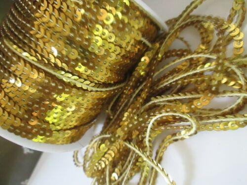 10 METER Spitze Pailletten Elegante Borte Gold 4mm waschbar 0,19€ //meter N
