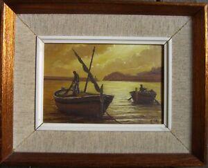 Ponctuel Deux Chaloupes Fischer Dans Lumière Du Soir Méditerranée Peinture à L'huile °
