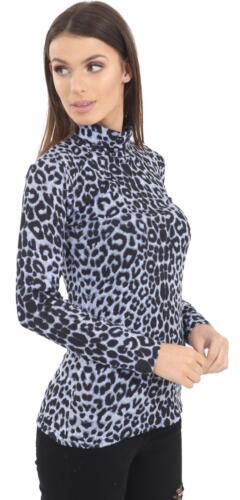 Femmes à Manches Longues Extensible Polo Col Roulé Haut Jersey Style 8-18 Noir Kaki