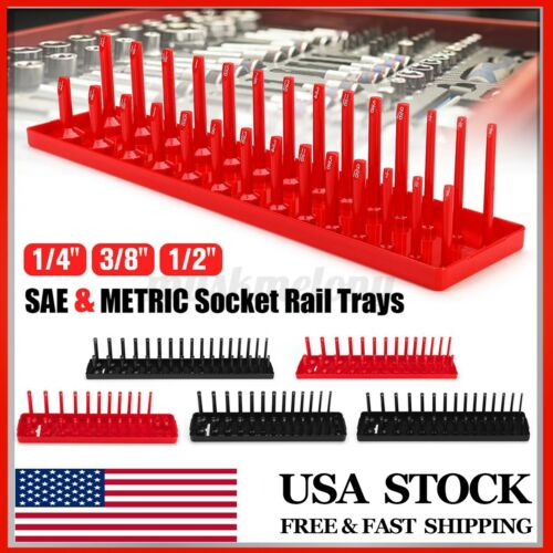 "6pcs 1//4/"" 3//8/"" 1//2/"" Socket Organizer Tray Rack Storage Holder Tool Metric SAE US"
