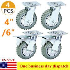 4 Pcs 4 6 Industrial Rubber Caster Wheels 360 Swivel Ball Bearing Heavy Duty