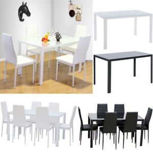 Super Details About 4 6X Black White Dining Chairs Metal Leg Tempered Glass Table Set Dining Kitchen Caraccident5 Cool Chair Designs And Ideas Caraccident5Info