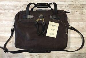 CC Filson Rugged Twill Original Briefcase Brass Brown Leather Strap Handle EUC