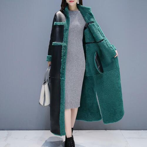 Thicken Warm Women Lamb Fur Lining Leather Coat Parka Outwear Snow Jacket Winter