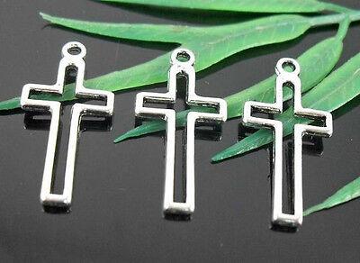Free Ship 268pcs Tibetan Silver Cross Charms 23x11mm
