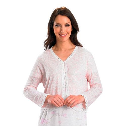 Slenderella Ladies 100/% Acrylic Bed Jacket Button Cardigan Scalloped Tulle Trim