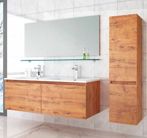 Details zu Doppelwaschtisch Keramik Badmöbel Set 120 cm Eiche  Badezimmermöbel Set 5Teilig