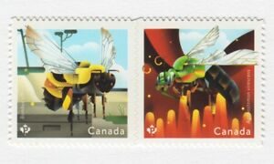 BEES-of-Canada-HONEYBEE-DIE-CUT-Pair-from-Booklet-MNH-Canada-2018