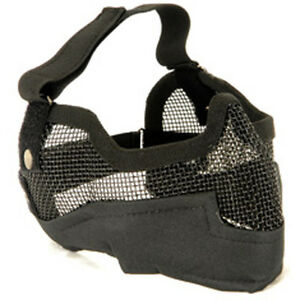 NEW-AIRSOFT-PAINTBALL-TACTICAL-METAL-MESH-HALF-MASK-w-EAR-PROTECTION-BLACK