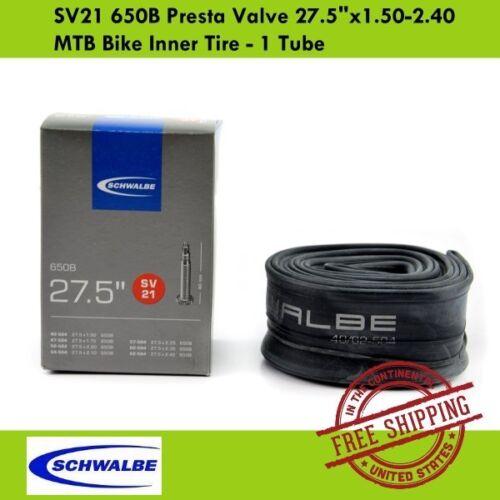 "1 Tube Schwalbe SV21 650B Presta Valve 27.5/""x1.50-2.40 MTB Bike Inner Tire"