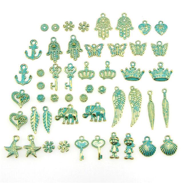 Wholesale Retro 50pcs Bulk Lots Mix Classic Charm Pendants Jewelry DIY Hot!