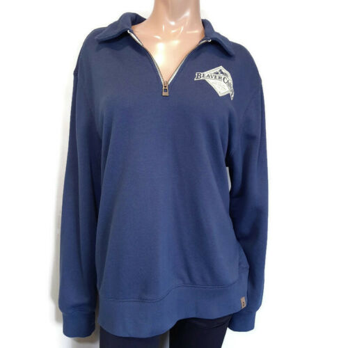 Beaver Canoe Quarter Zip Sweatshirt Womens Large B