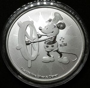 Disney Mickey Mouse Steamboat Willie 2017 1 Oz Silber Münze 2 Niue