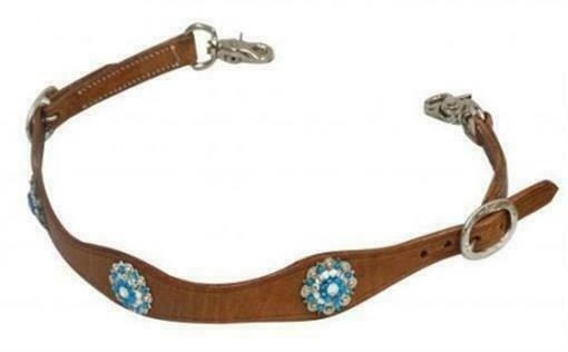 Adjustable medium leather FLORAL TOOLED WITHER STRAP w// scissor snap ends buckle