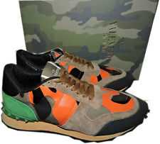 VALENTINO Camouflage Print Rockstud Low Profile Lace Up Sneakers Shoe 39