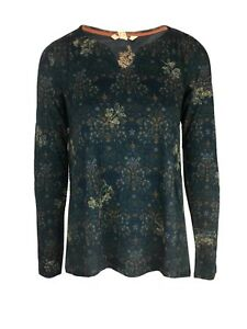 Ex-White-Stuff-Ladies-Long-Sleeve-Green-Floral-Top-Size-8-18-I4