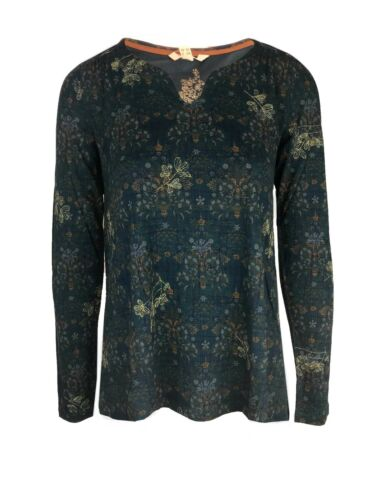 i2.2 Ex White Stuff Ladies Long Sleeve Green Floral Top Size 8-18