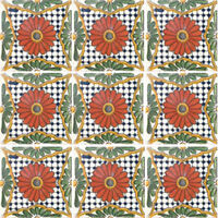 Set 017) With Nine Mexican Tiles Ceramic Clay Handcrafted Mexico